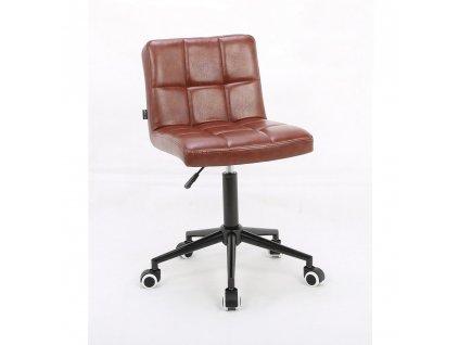 Židle ODESA na černé kolečkové podstavě - hnědá