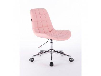 Židle PARIS na stříbrné podstavě s kolečky - růžová