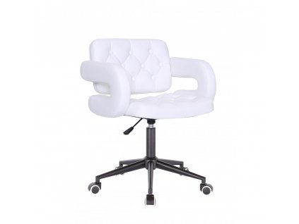 Židle Stockholm na černé kolečkové podstavě - bílá