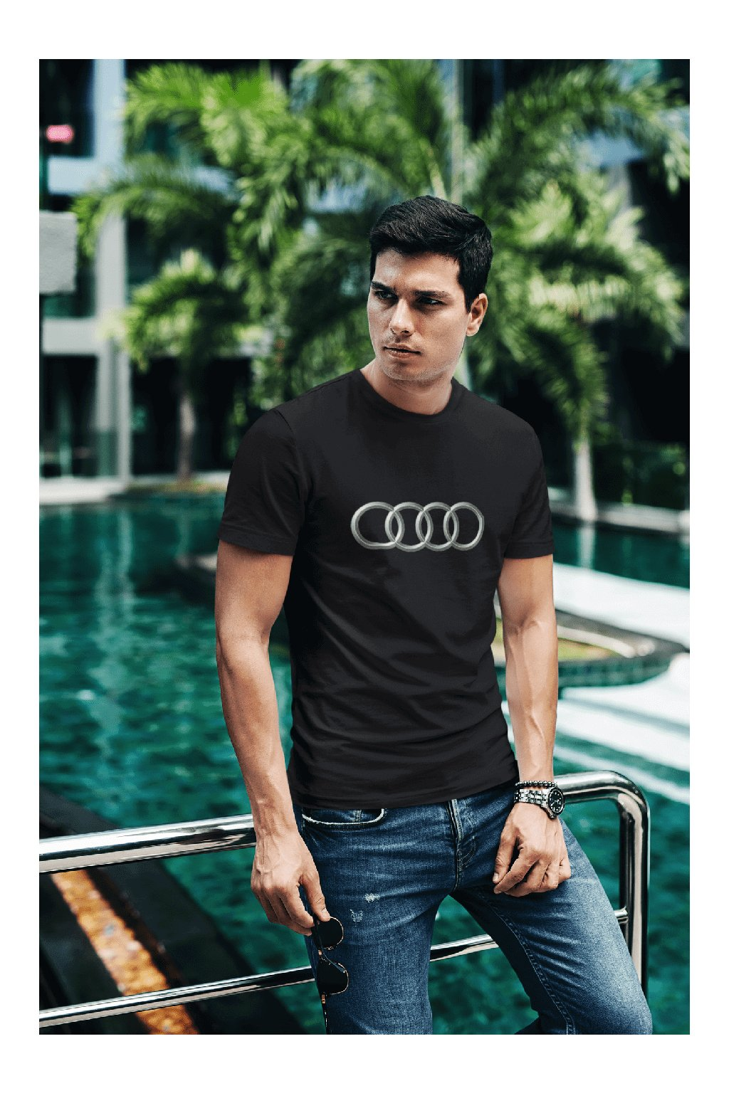 t shirt mockup of a fashionable man posing by a pool 430 el (14)