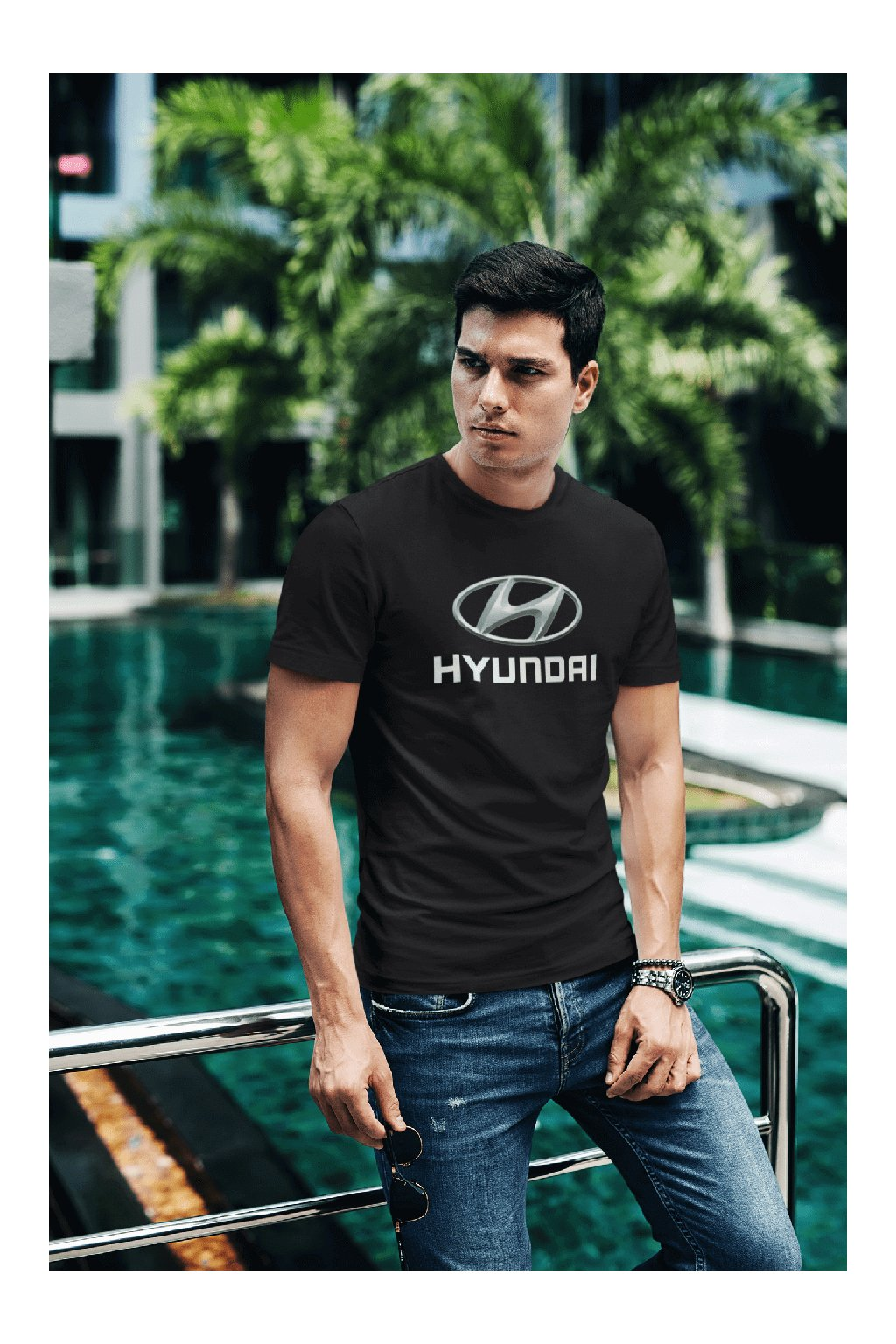 t shirt mockup of a fashionable man posing by a pool 430 el (19)
