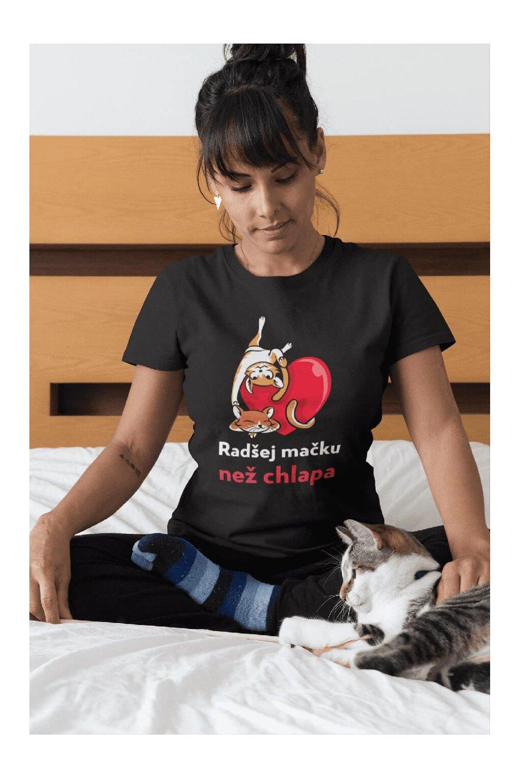 Dámske tričko Radšej mačku než chlapa
