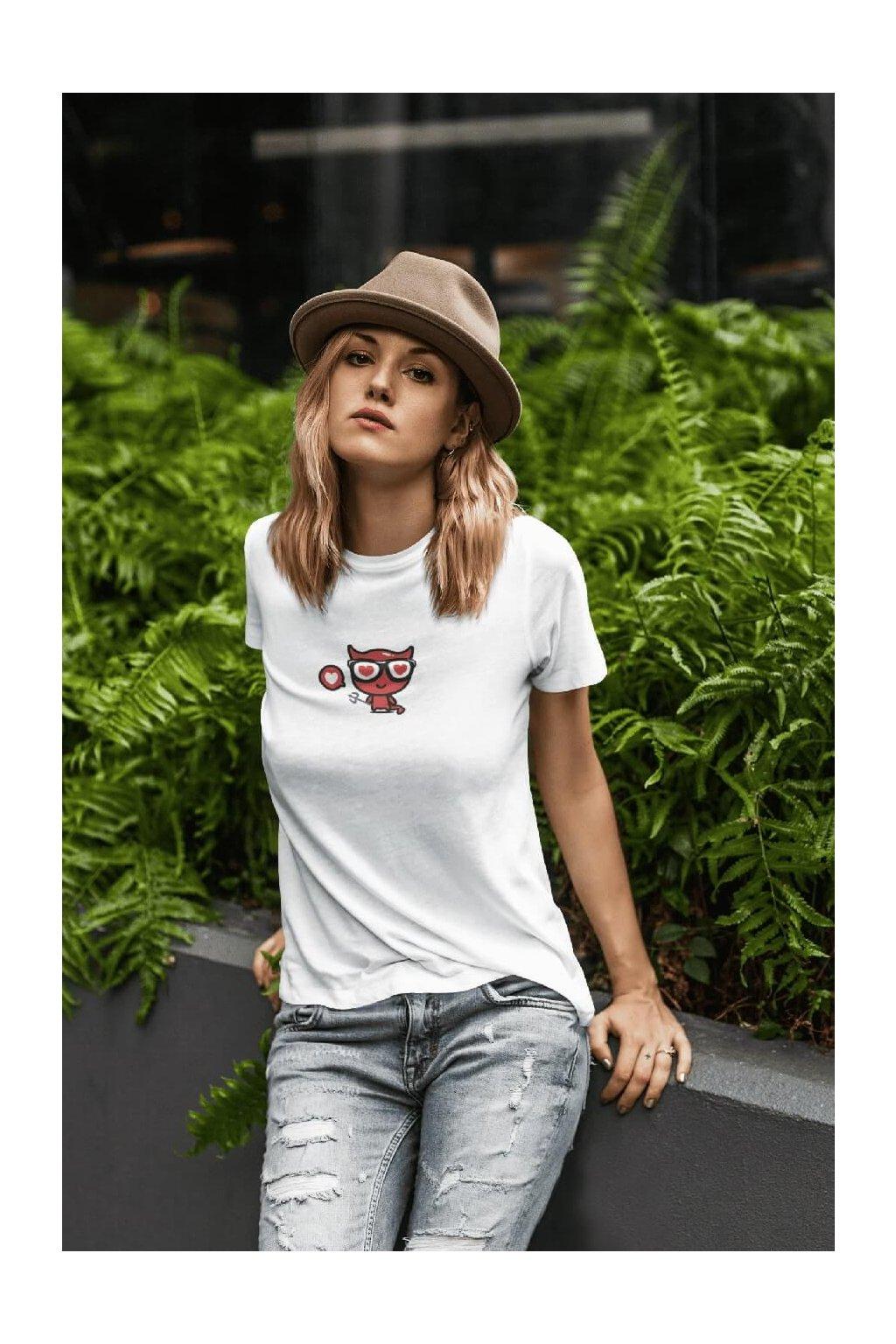 Dámske tričko Čert so srdiečkom