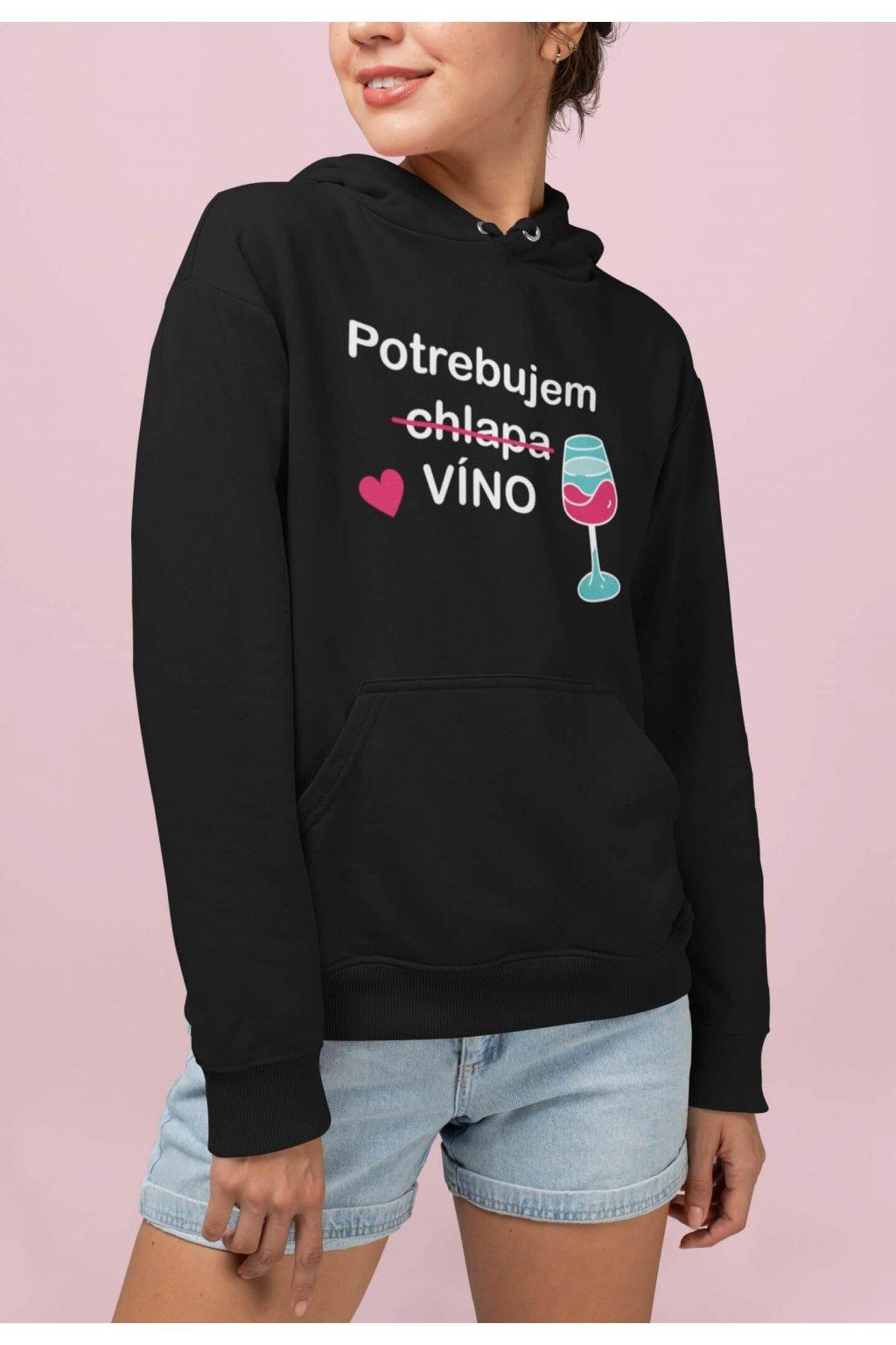 Vtipná dámska mikina Potrebujem víno