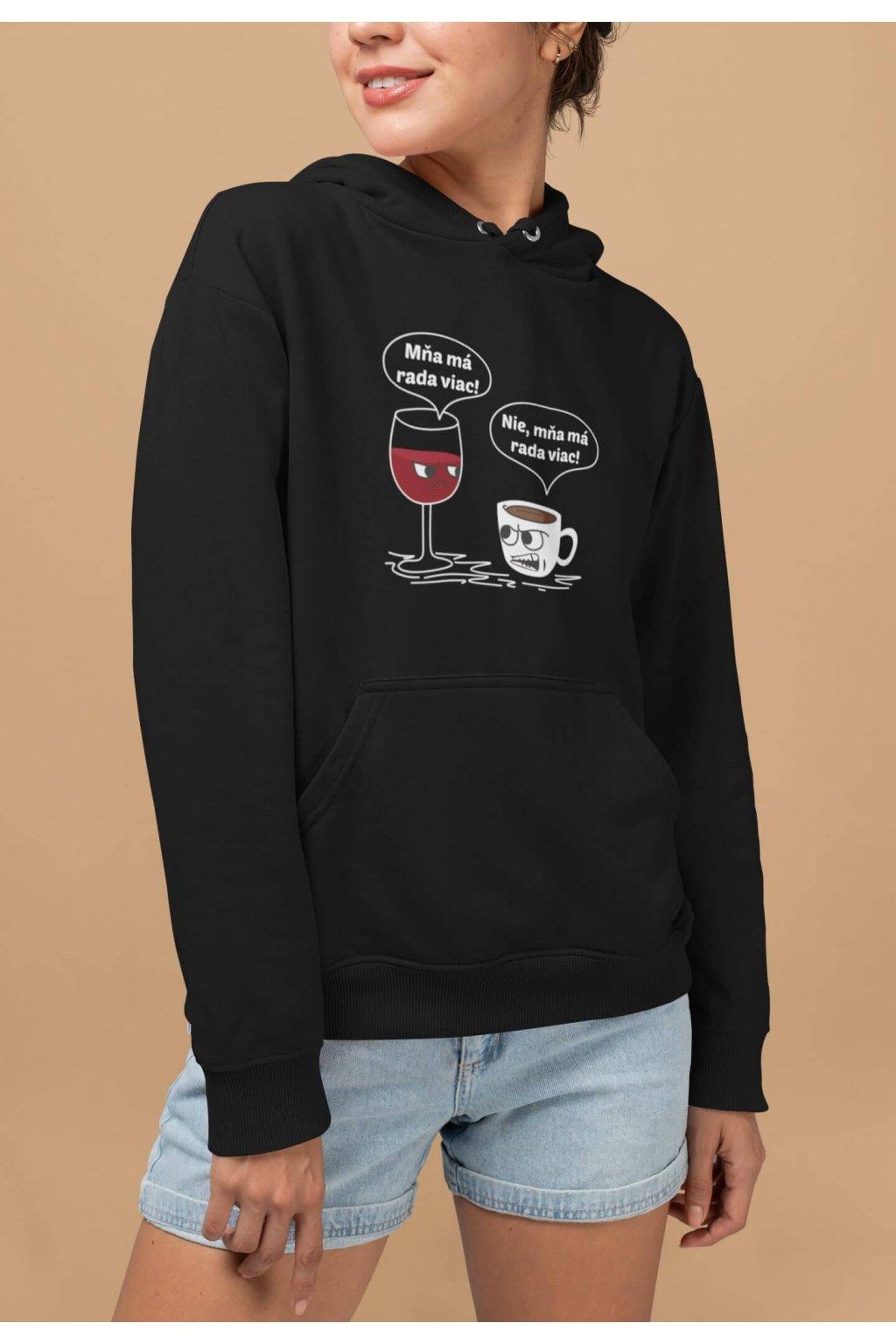 Vtipná dámska mikina Víno a káva