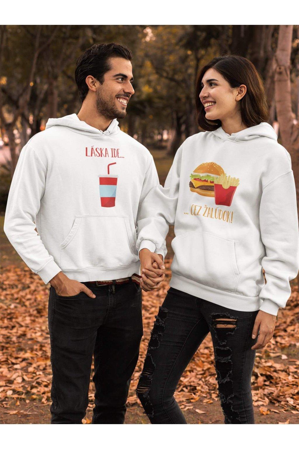Mikina pre páry Láska ide cez žalúdok hamburger