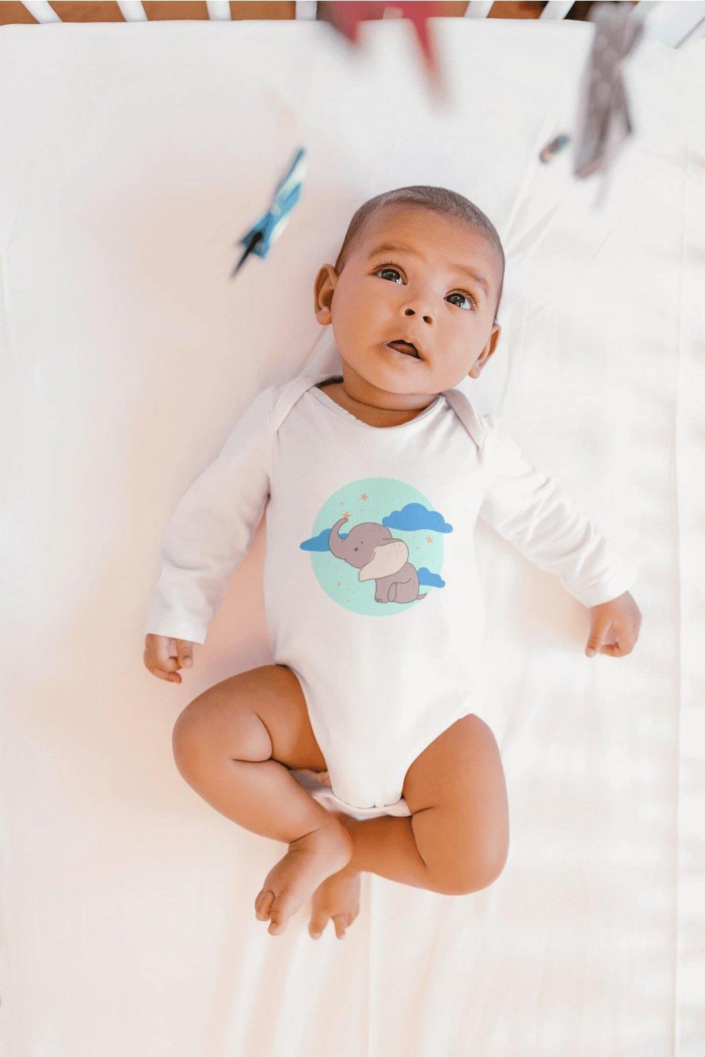 Dojčenské chlapčenské body Sloník