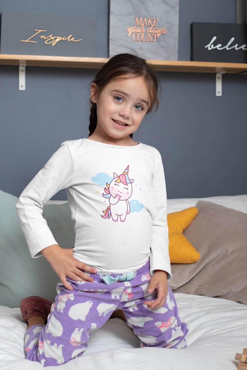 Dievčenské tričko s dlhým rukávom Jednorožec