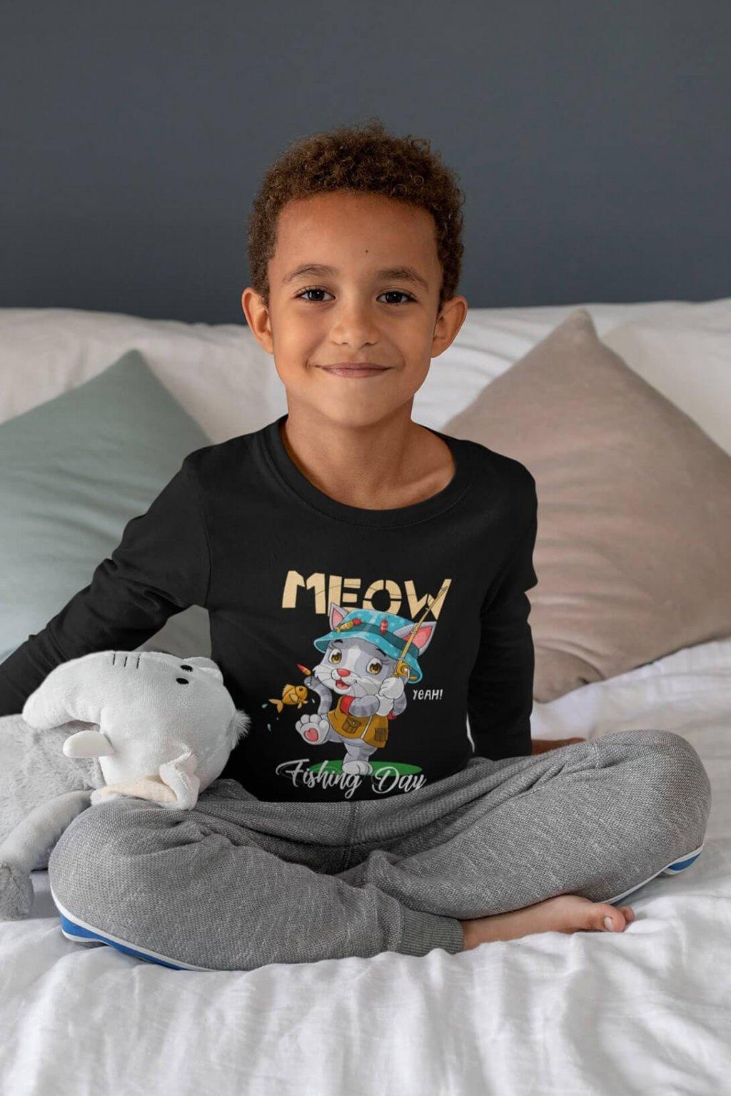 Detské tričko s dlhým rukávom MEOW