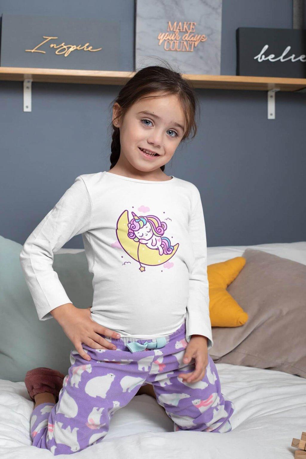 Dievčenské tričko s dlhým rukávom Spiaci jednorožec