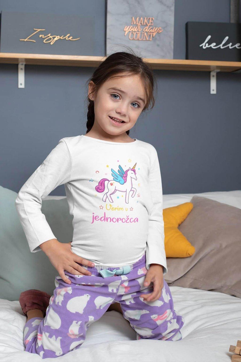 Dievčenské tričko s dlhý rukávom Verím v jednorožca