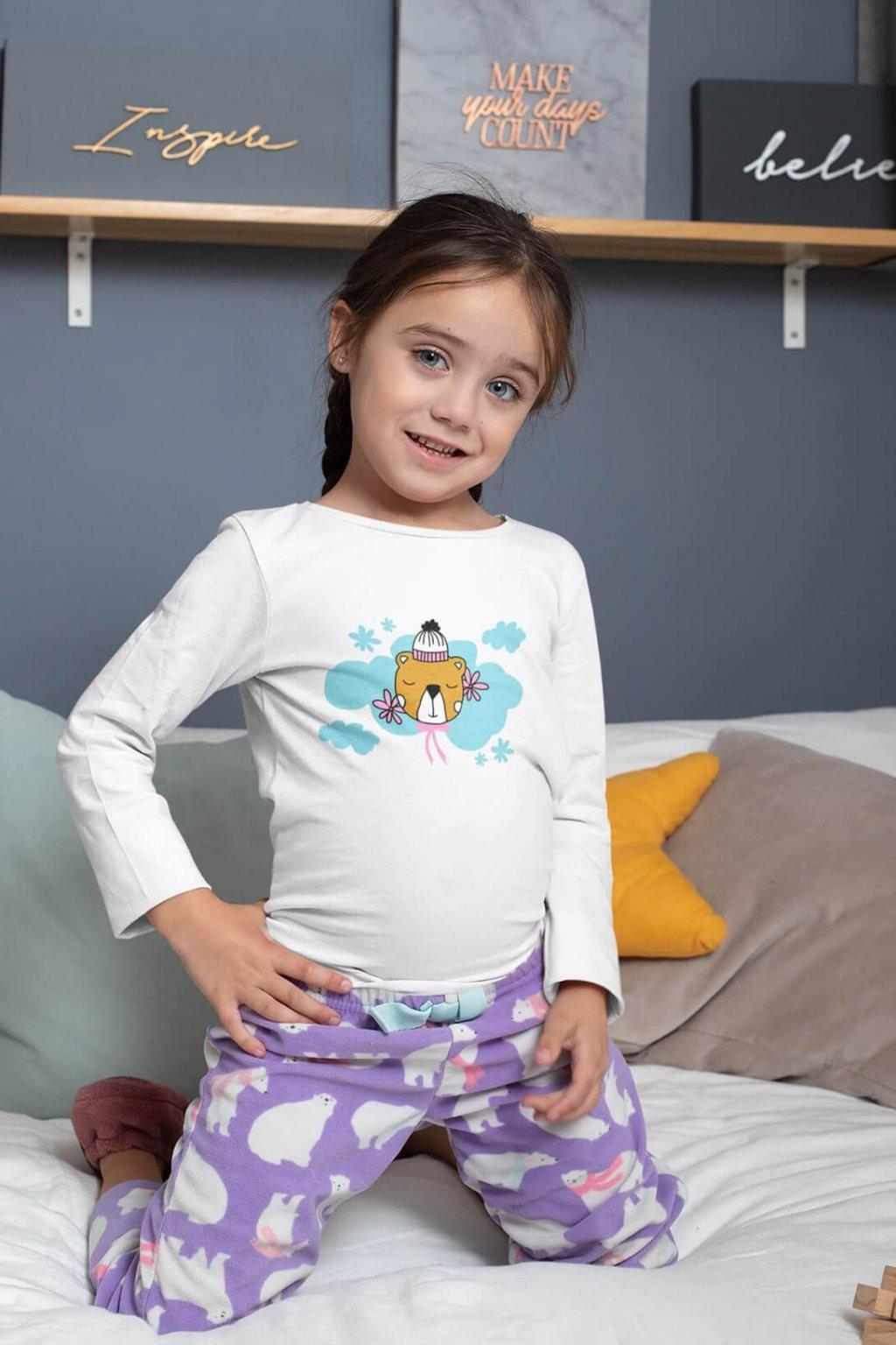 Detské tričko s dlhým rukávom Spiaci medvedík