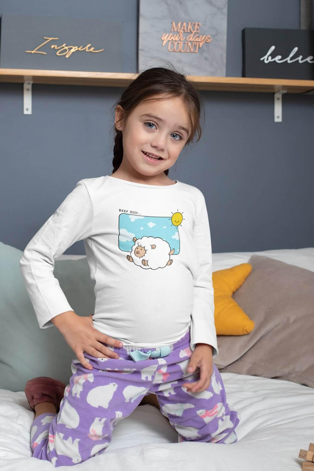 Detské tričko s dlhým rukávom Šťastná ovečka