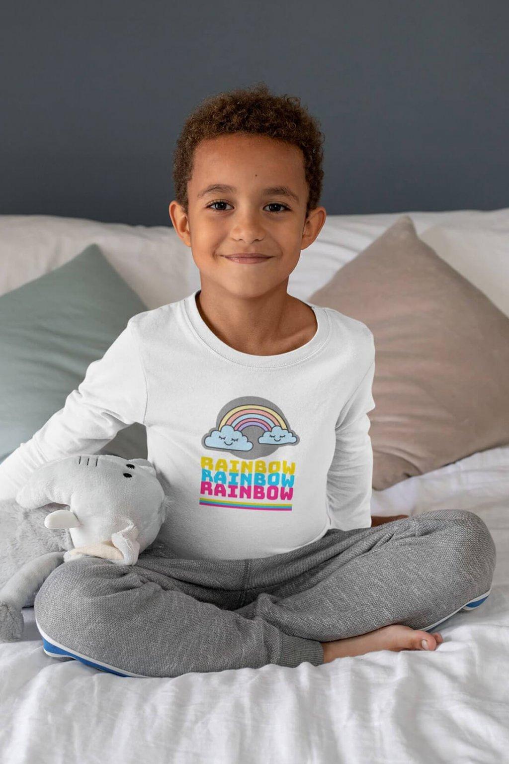 Detské tričko s dlhým rukávom Dúha