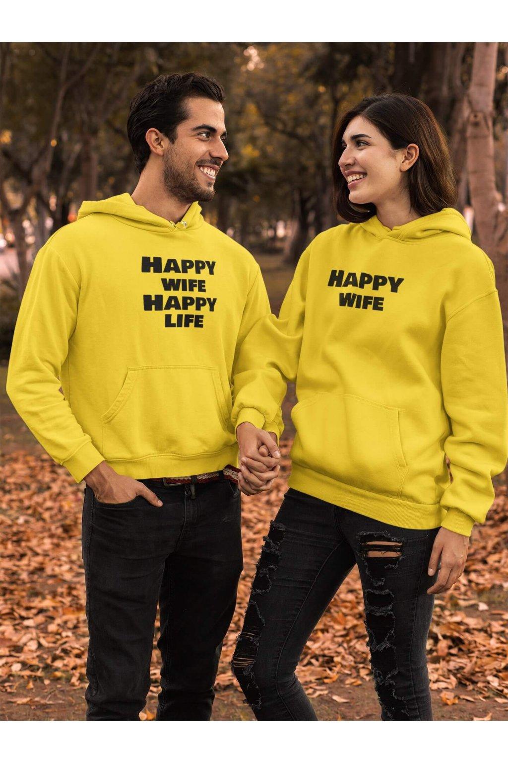 Mikina pre páry Happy wife, Happy life
