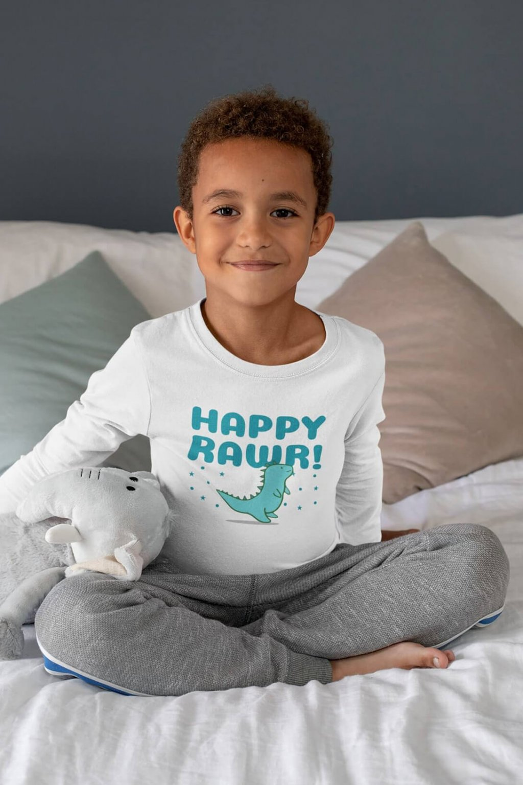 Detské tričko s dlhým rukávom Happy rawr!