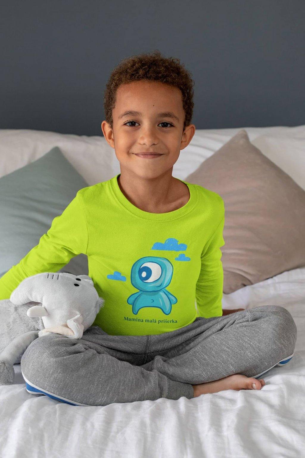 Chlapčenské tričko s dlhým rukávom Mamina malá príšerka
