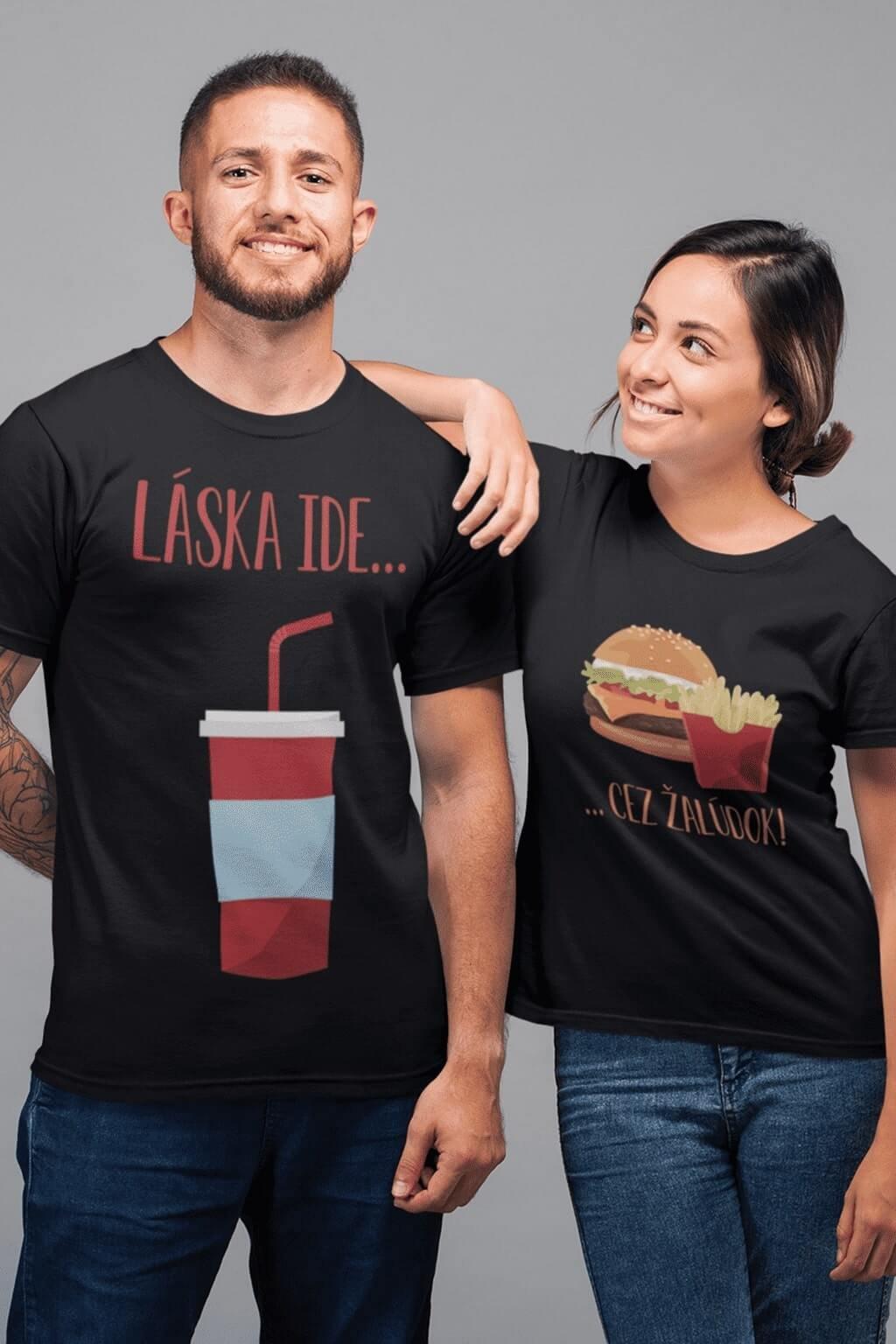 Tričká pre páry Láska ide cez žalúdok hamburger