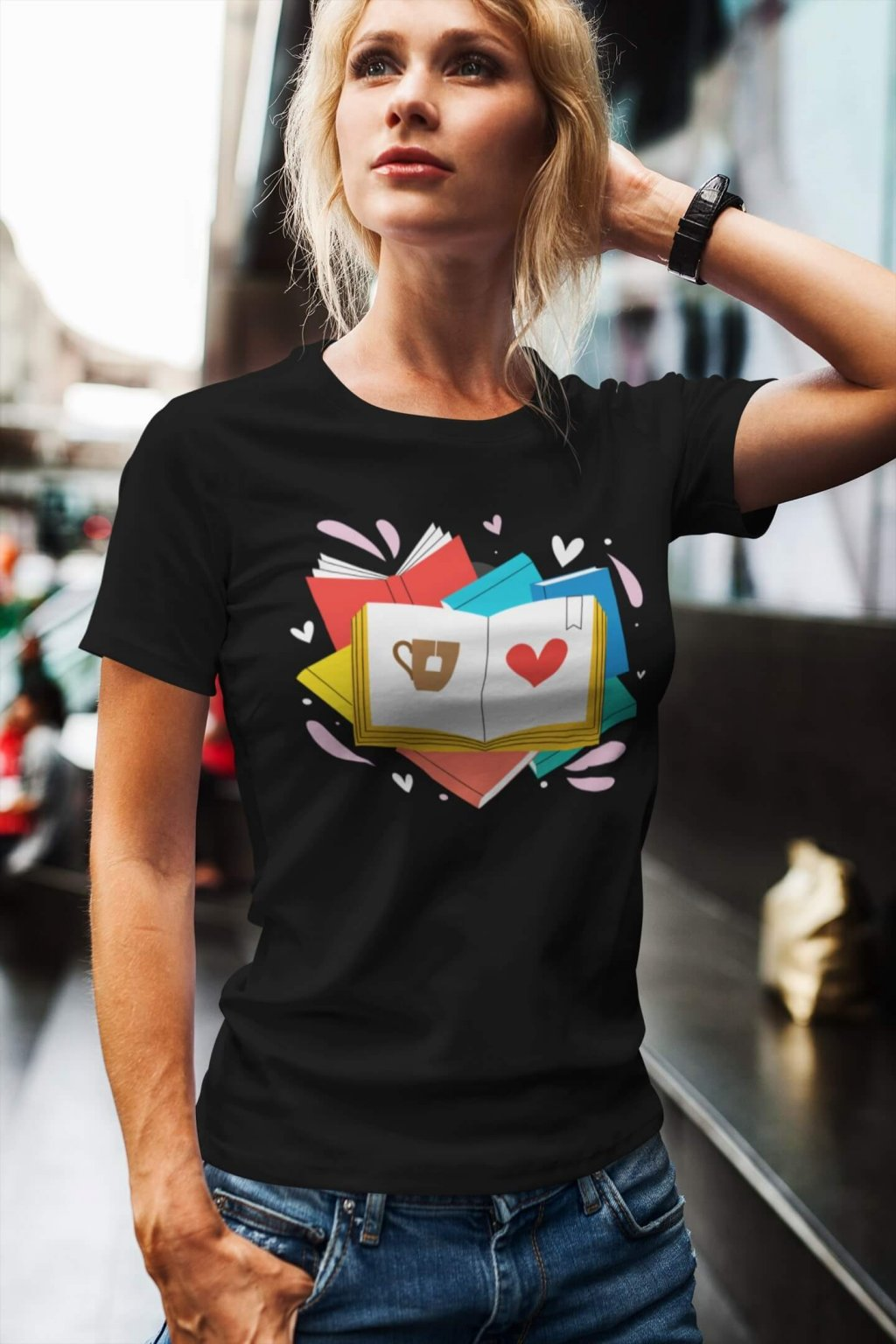Dámske tričko Knihy a čaj