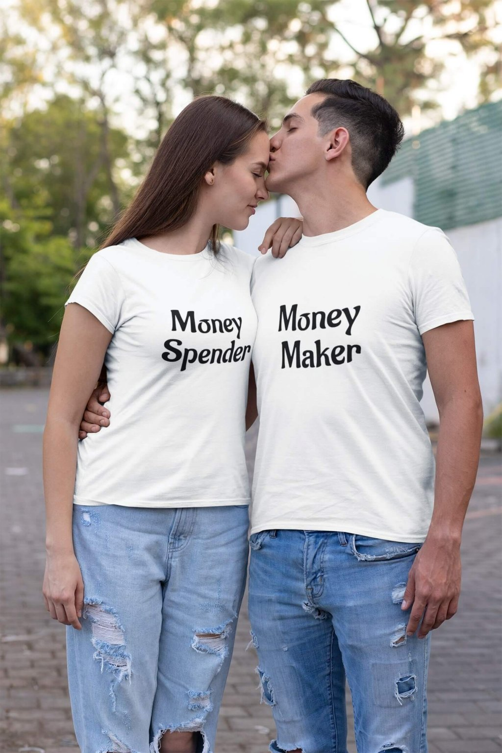 t shirt mockup of a man kissing his girlfriend on the street 30747 (1)