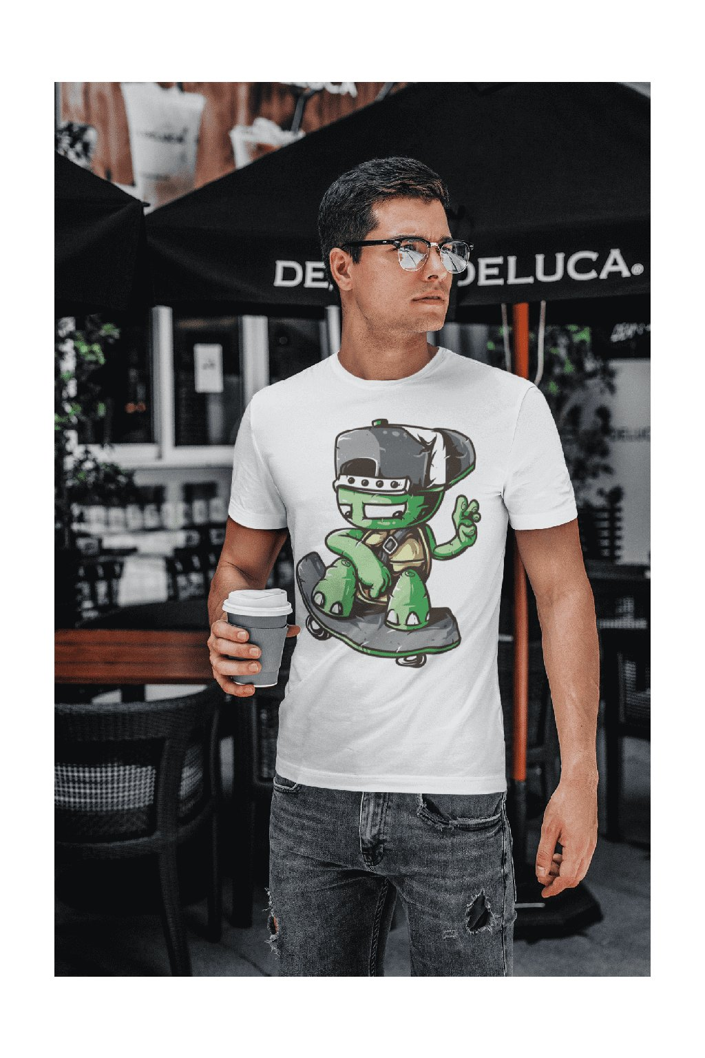 t shirt mockup featuring a young man with glasses drinking coffee 422 el (8)