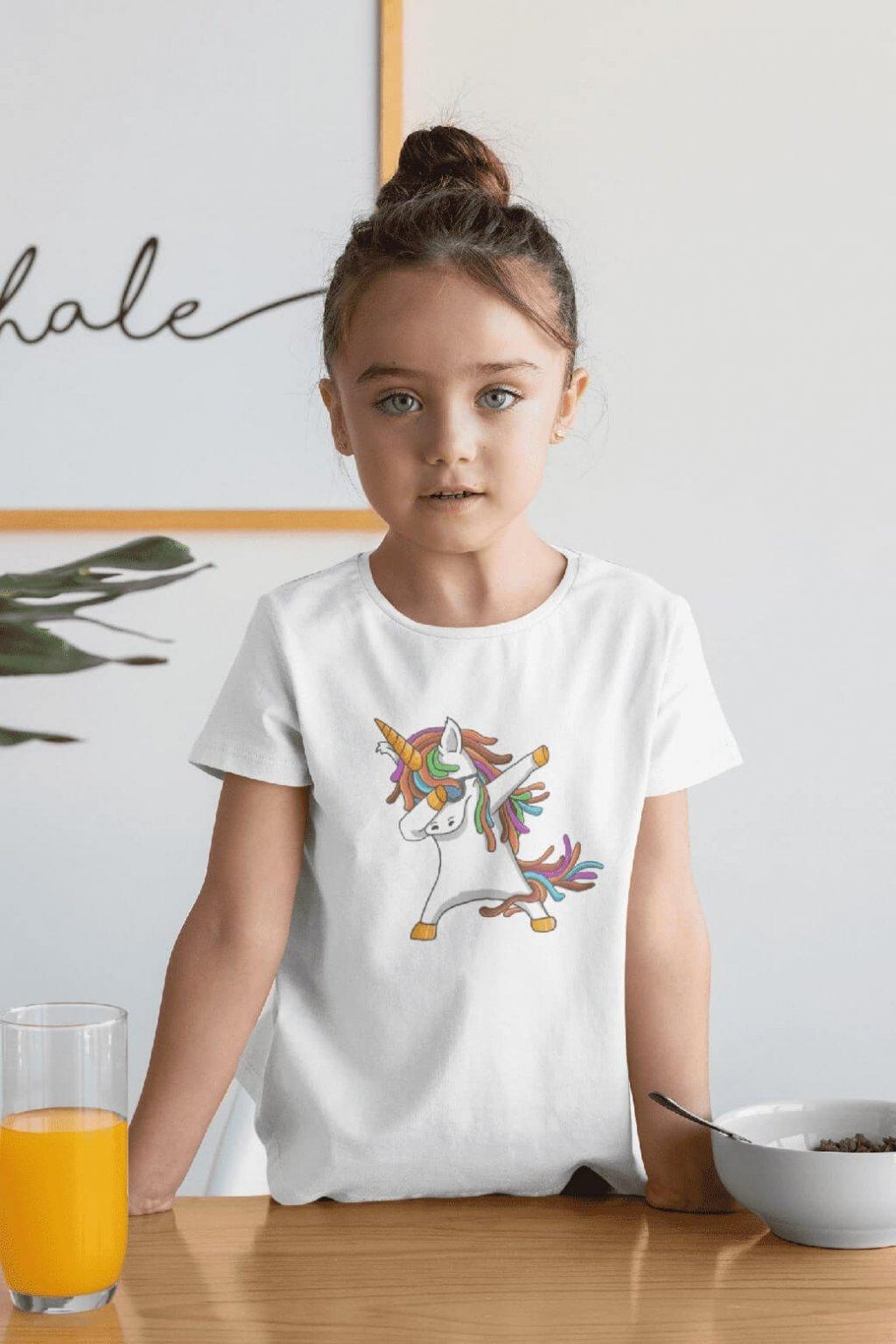 Dievčenské tričko Dabujúci unicorn