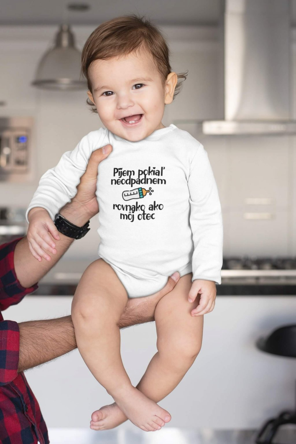sublimated onesie mockup of a baby being held by his dad m984 (1)