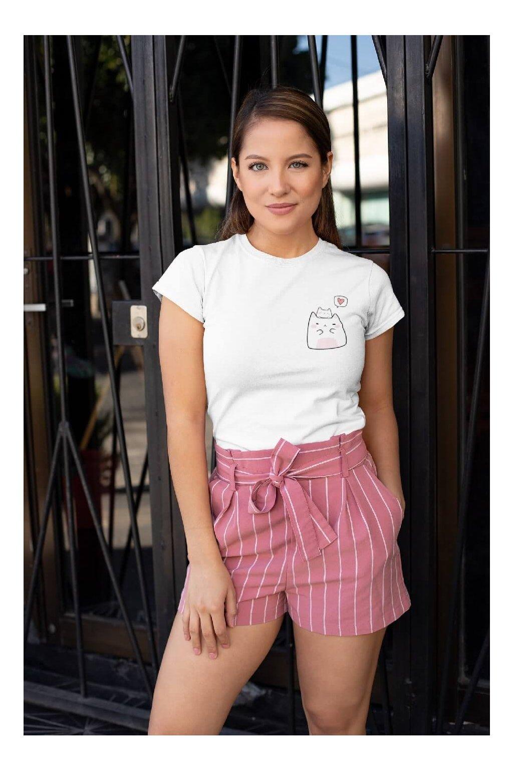 Dámske tričko Mačička so srdiečkom