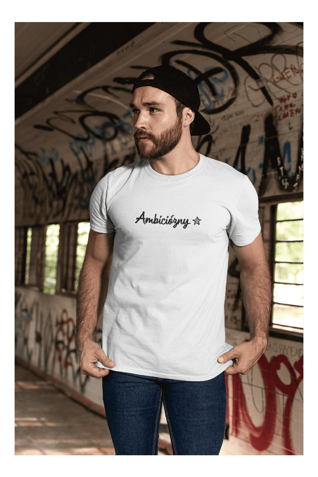 t shirt mockup featuring a bearded man with a cap by a graffiti wall 28194 (4)