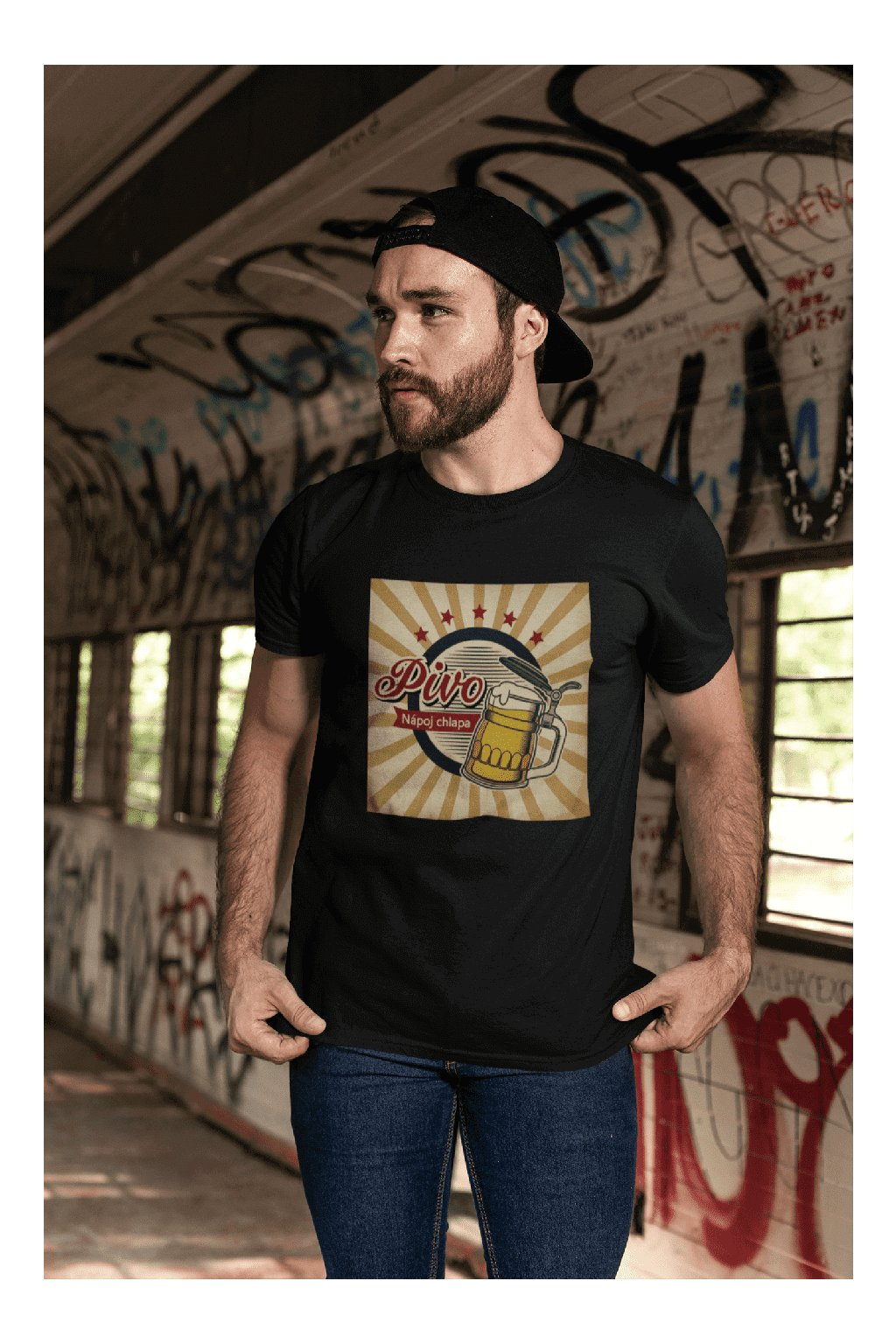 t shirt mockup featuring a bearded man with a cap by a graffiti wall 28194 (10)