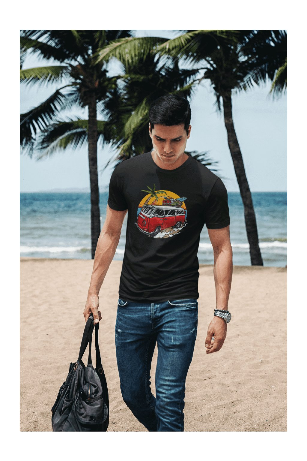 t shirt mockup of a man carrying a bag by the beach 431 el