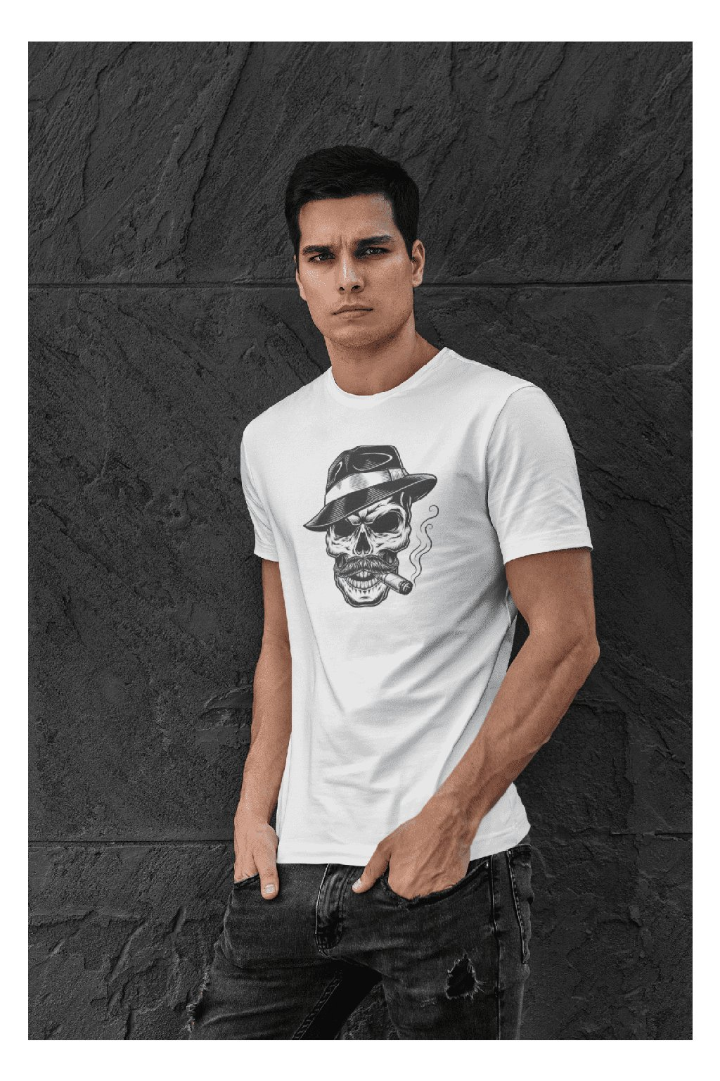t shirt mockup featuring a serious looking man posing against a dark stone wall 427 el