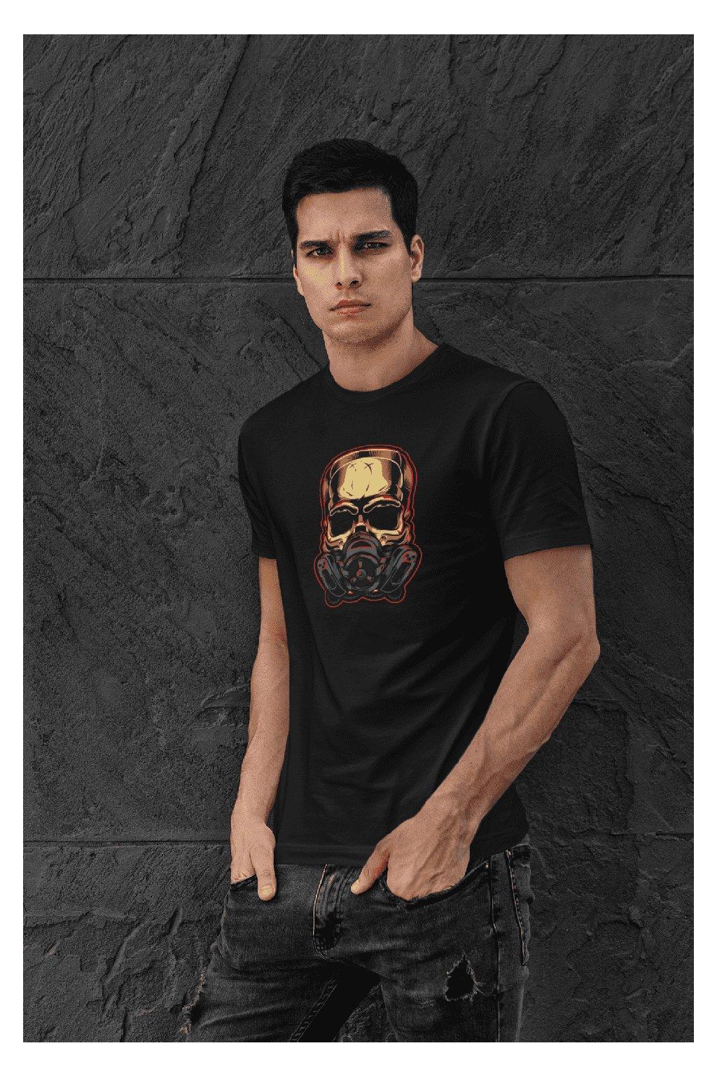 Pánske tričko Lebka s respirátorom