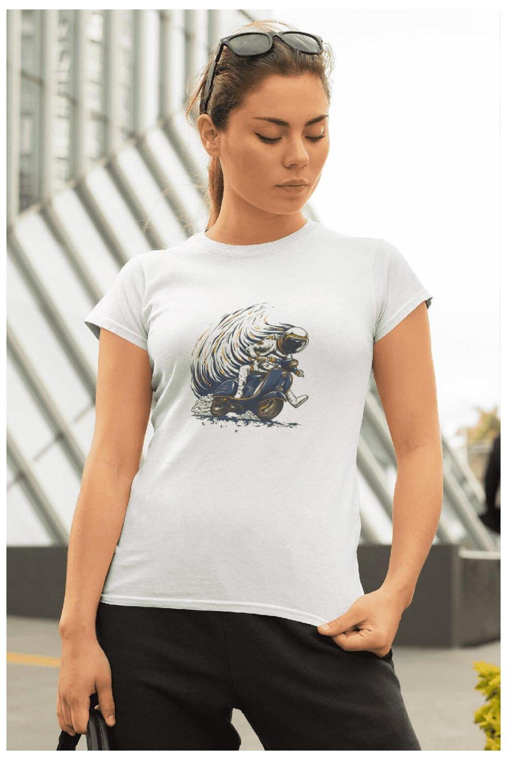 Dámske tričko Astronaut na motorke