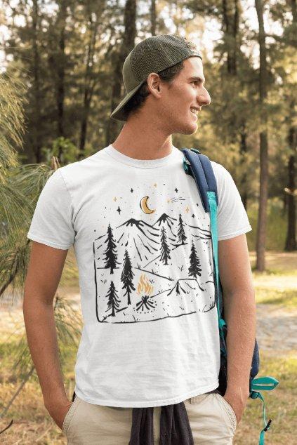 Pánske outdoorové tričko kreslené