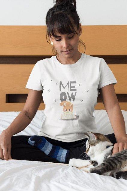 Dámske tričko Mačička s knihou
