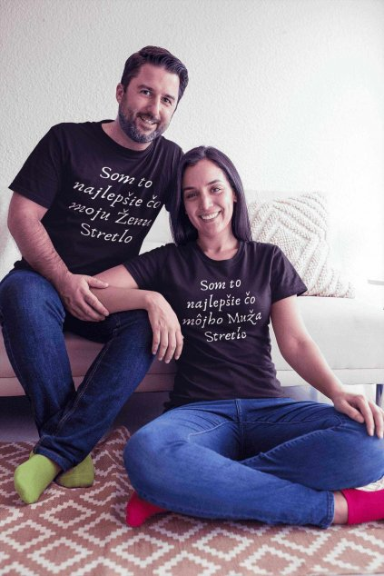 Vtipné tričká pre páry s nápisom čierne