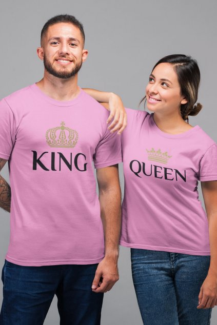 Tričká pre páry King Queen Gold