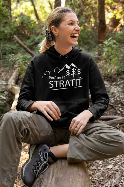 mockup featuring a happy woman with a pullover hoodie in the woods 32219 (2)