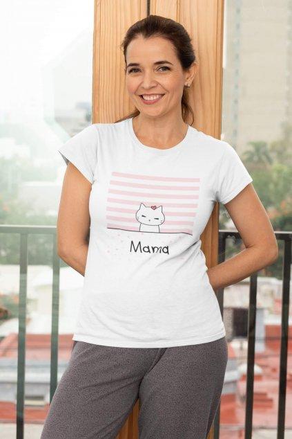Dámske tričko pre mamu Mačacia rodinka