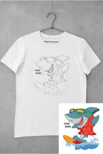 Detské tričko vymaľuj si Žralok na surfe