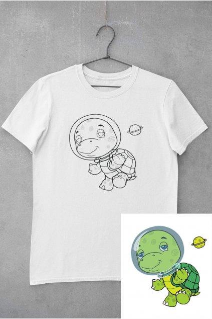 Detské tričko vymaľuj si Korytnačka vo vesmíre