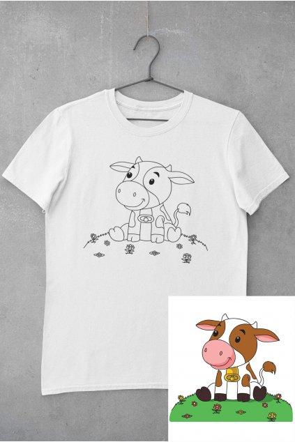 Detské tričko vymaľuj si Kravička
