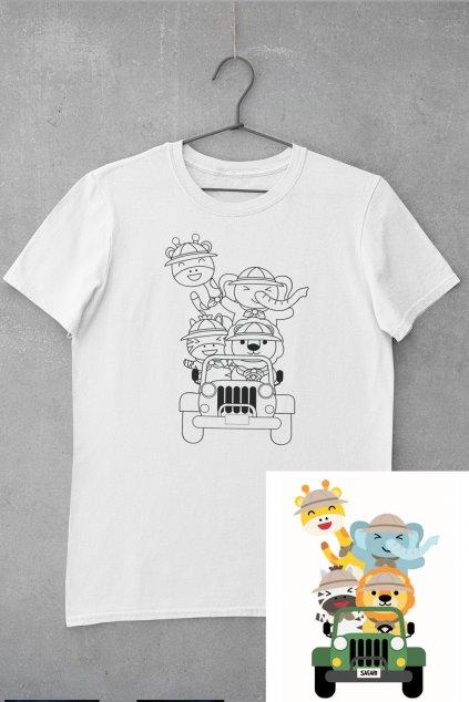Detské tričko vymaľuj si Safari zvieratká