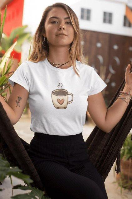 Dámske tričko Káva so srdiečkom