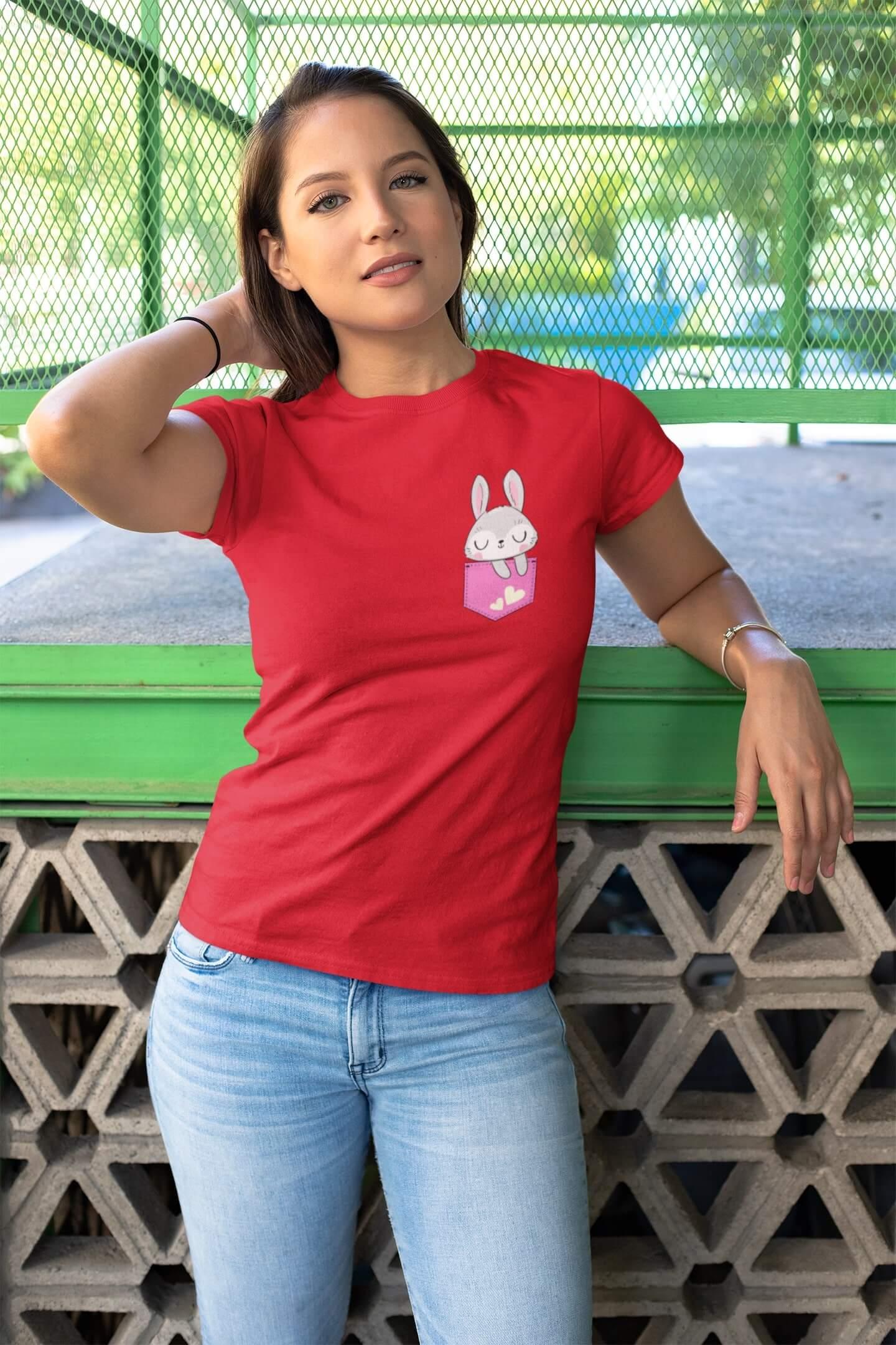 MMO Dámske tričko Zajko Vyberte farbu: Červená, Dámska veľkosť: M