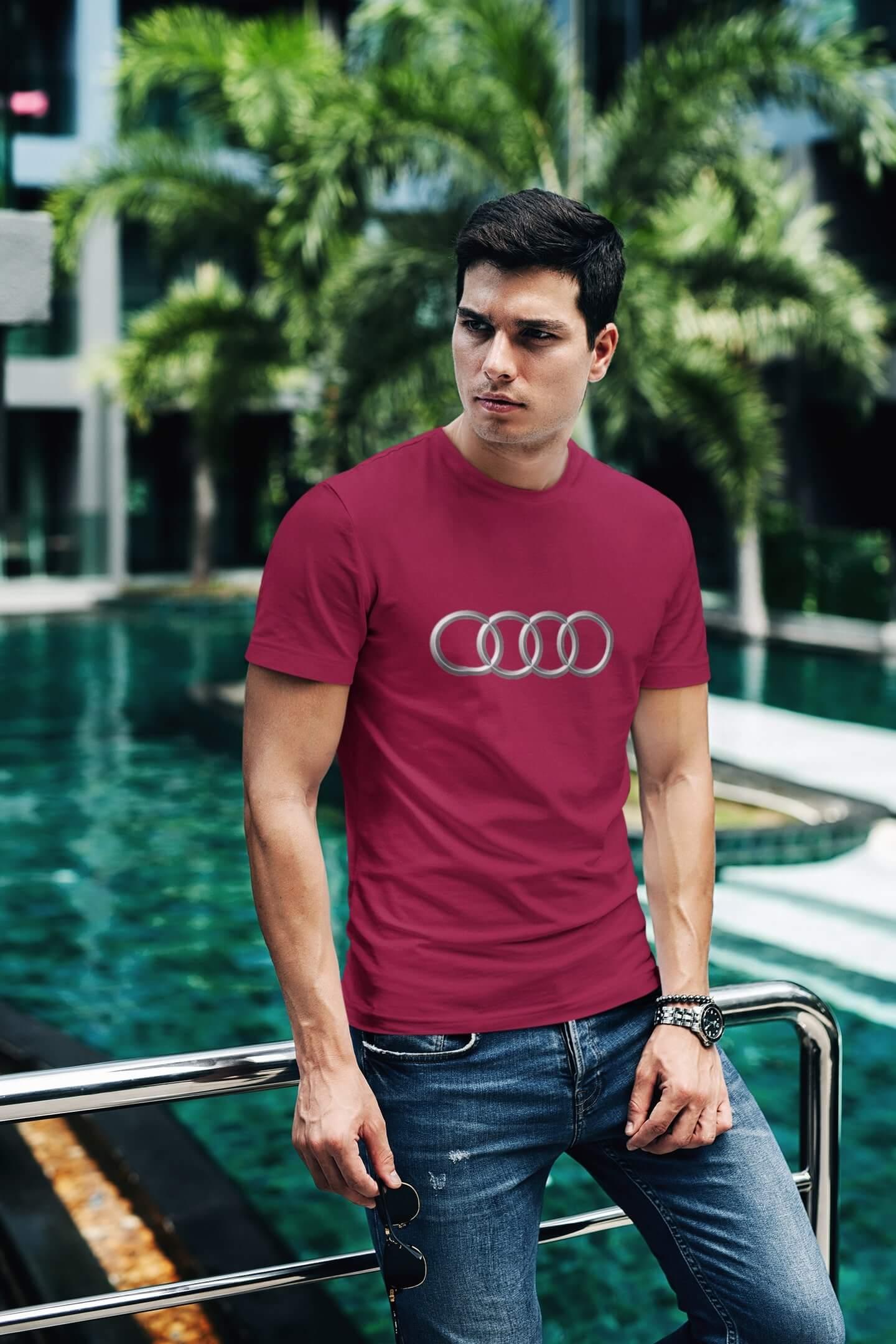 MMO Tričko s logom auta Audi Vyberte farbu: Marlboro červená, Vyberte veľkosť: XL