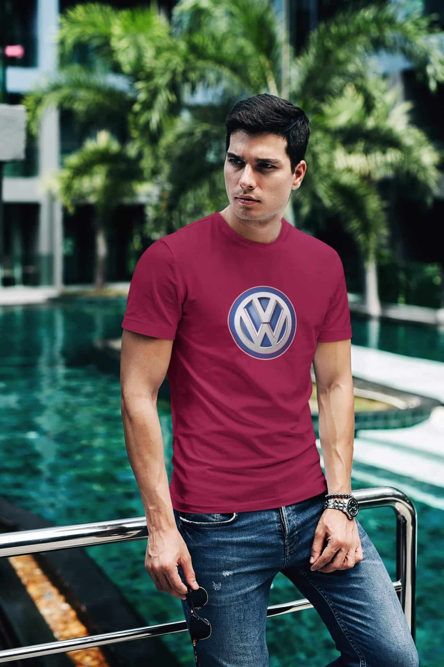 MMO Tričko s logom auta Volkswagen Vyberte farbu: Marlboro červená, Vyberte veľkosť: XL