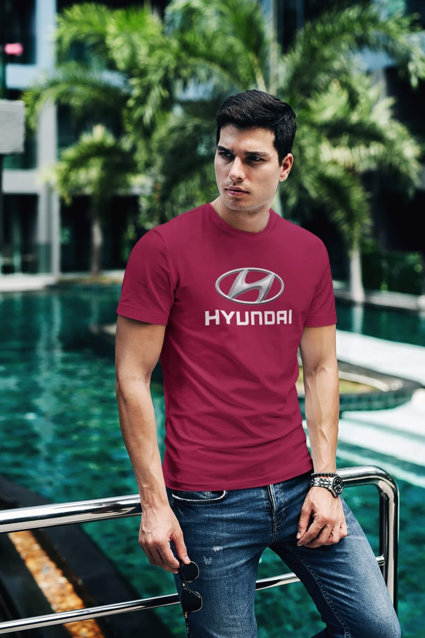 MMO Tričko s logom auta Hyundai Vyberte farbu: Marlboro červená, Vyberte veľkosť: XL