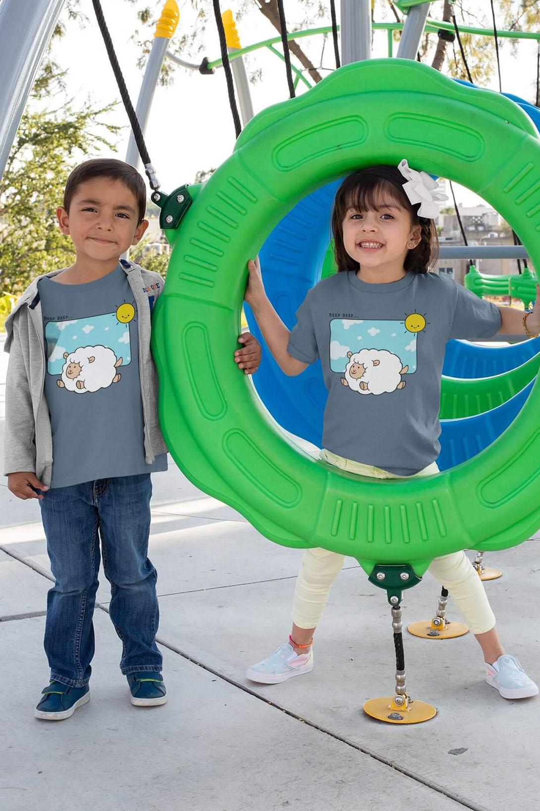MMO Detské tričko Šťastná ovečka Vyberte farbu:: Žltá, Detská veľkosť: 110/4 roky